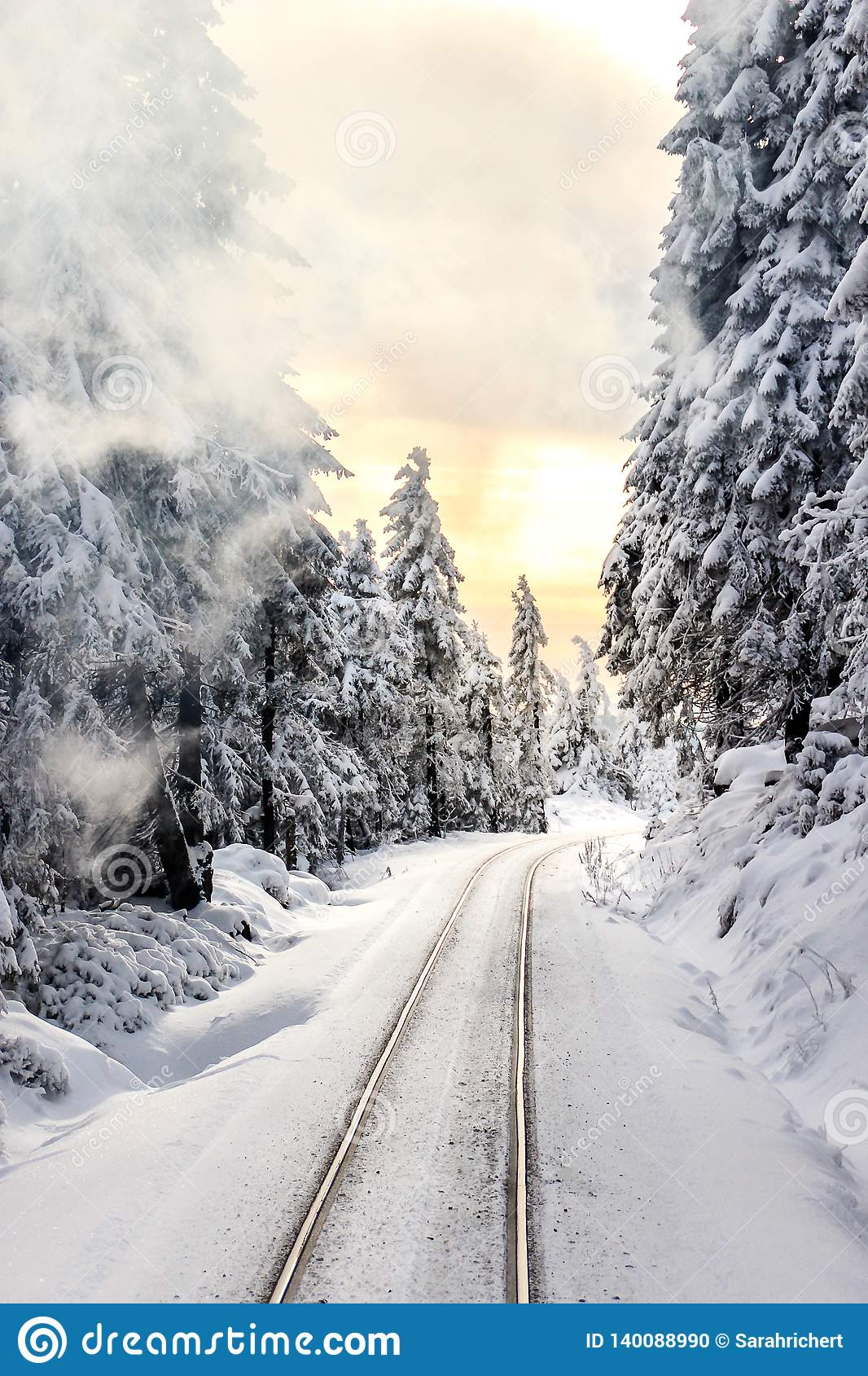 Railways in the snowy forest at sunset