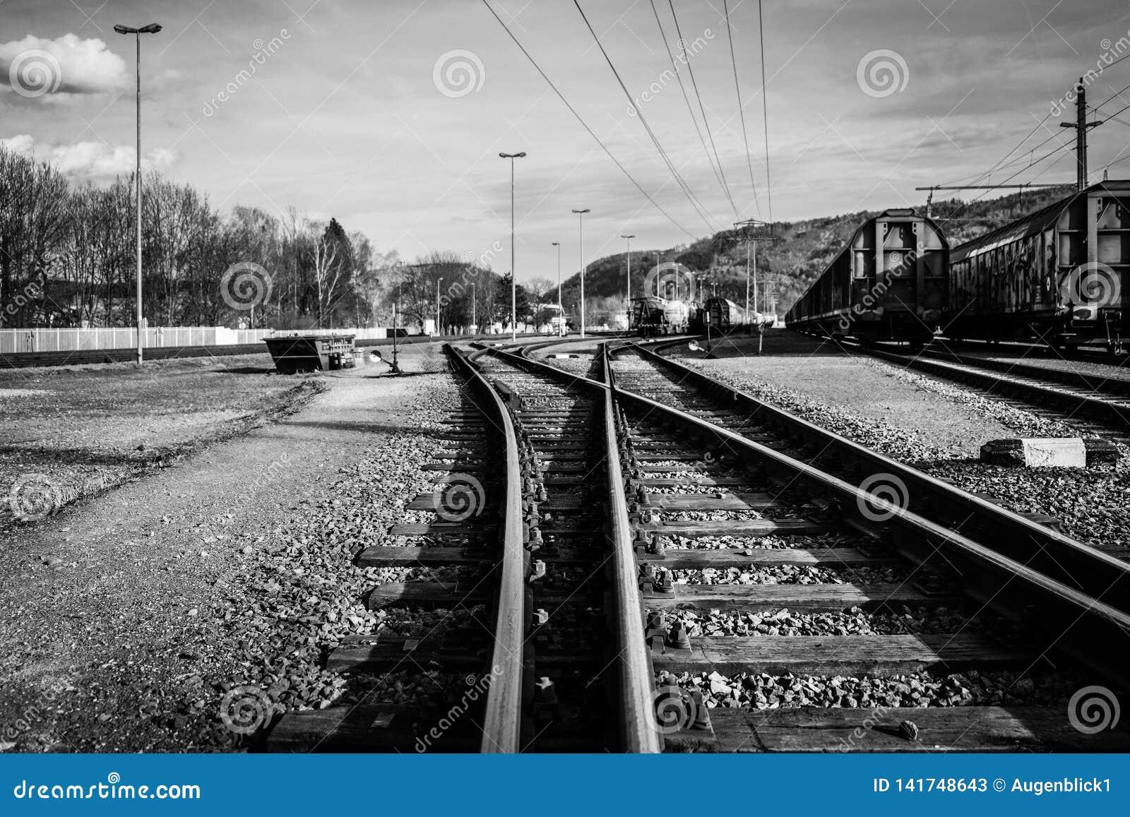 The Railways Tracks stock image  Image of speed, transit - 141748643