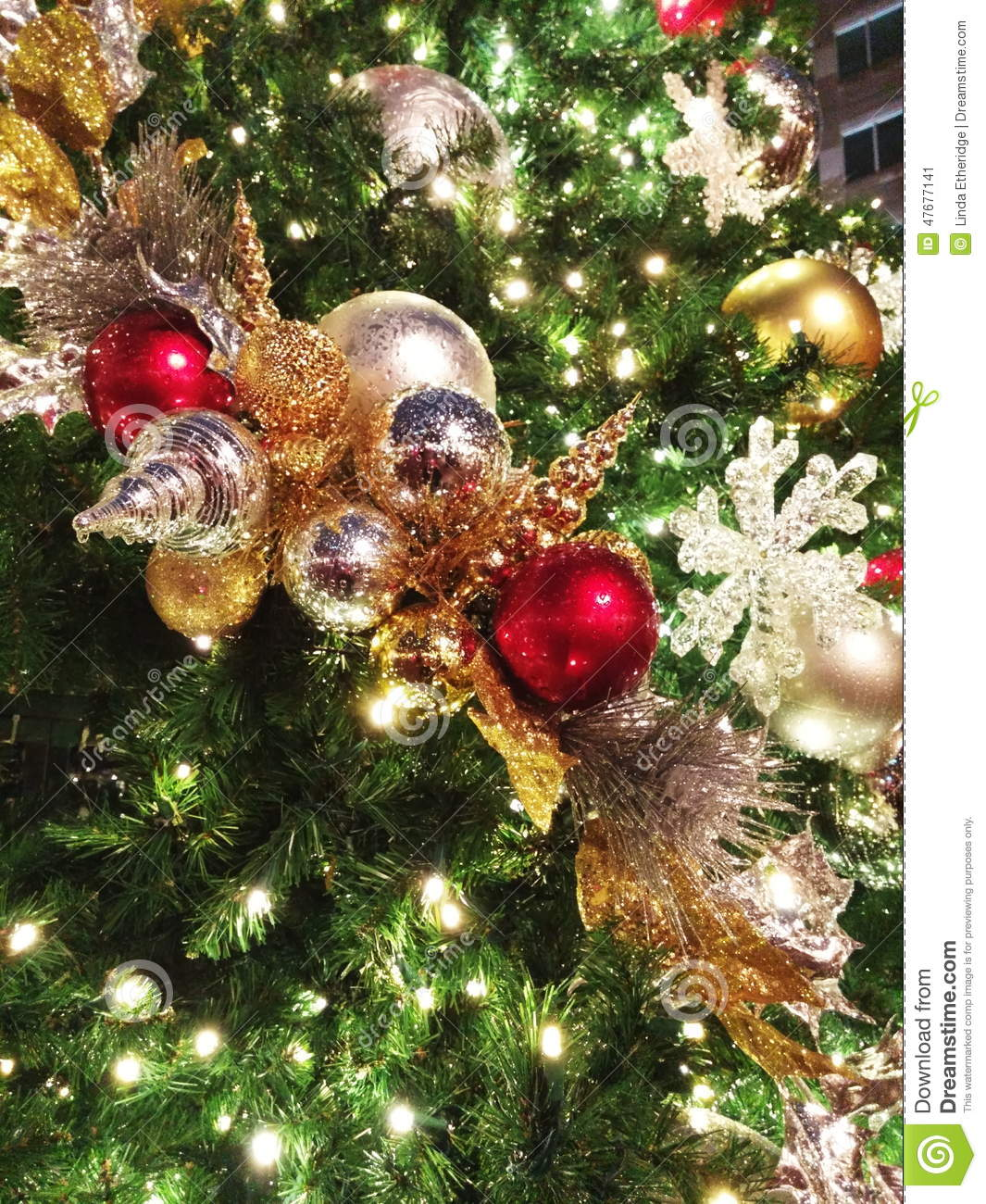 oversized christmas ball ornaments beaded with rain closeup