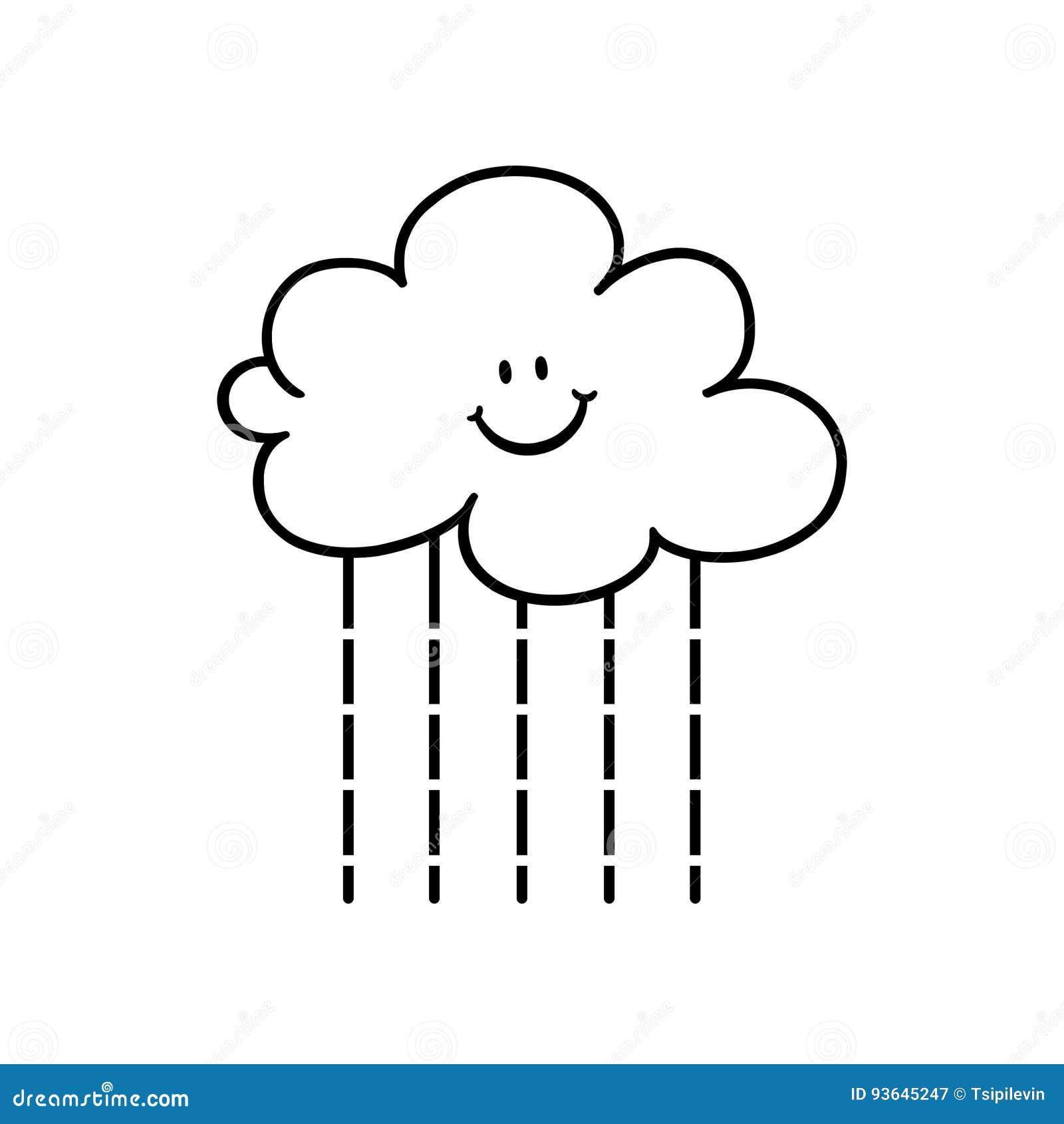 Cartoon Rain Cloud Outline Stock Illustration Illustration Of