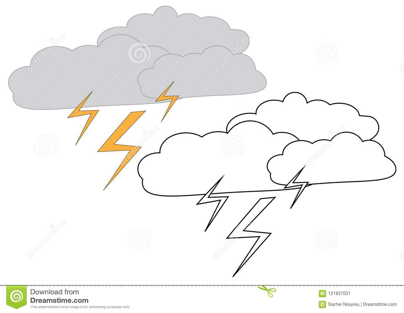Rain Clouds With Lightning. Coloring Page, Game For Kids. Vector ...