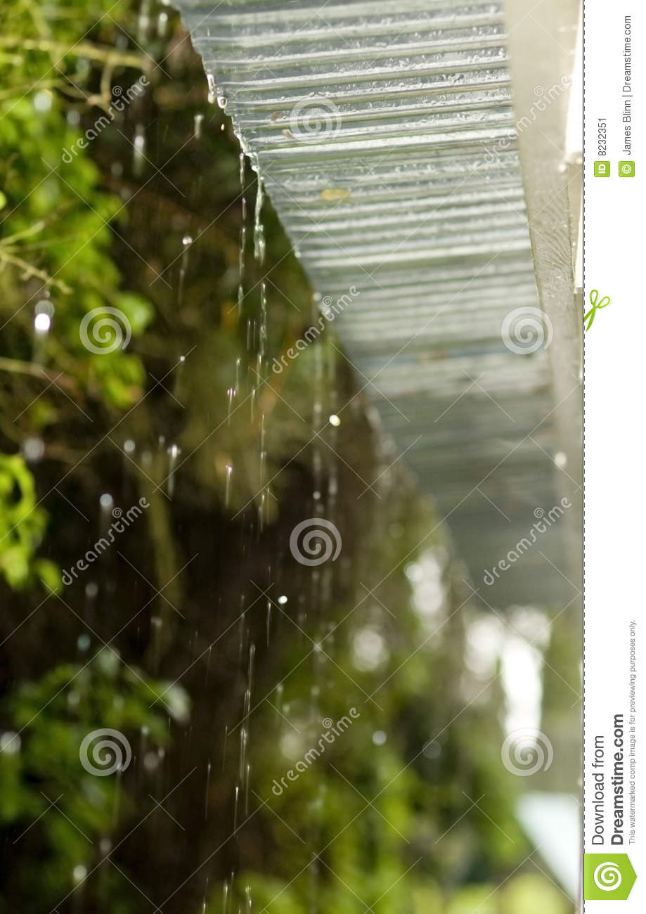 Rain Dripping From Roof Stock Image Image Of Torrential