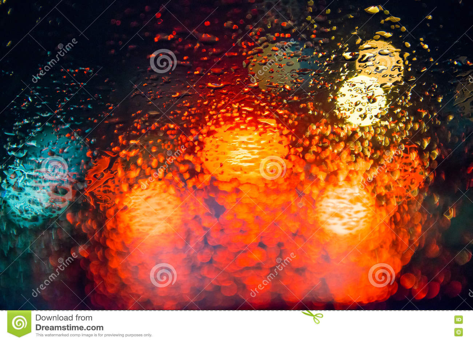 Rain Drops On Window With Street Bokeh Lights Stock Photo