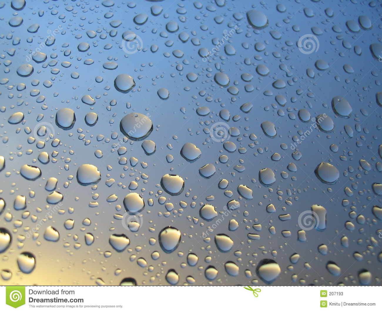Rain Drops On The Window Sunset In Background Stormy
