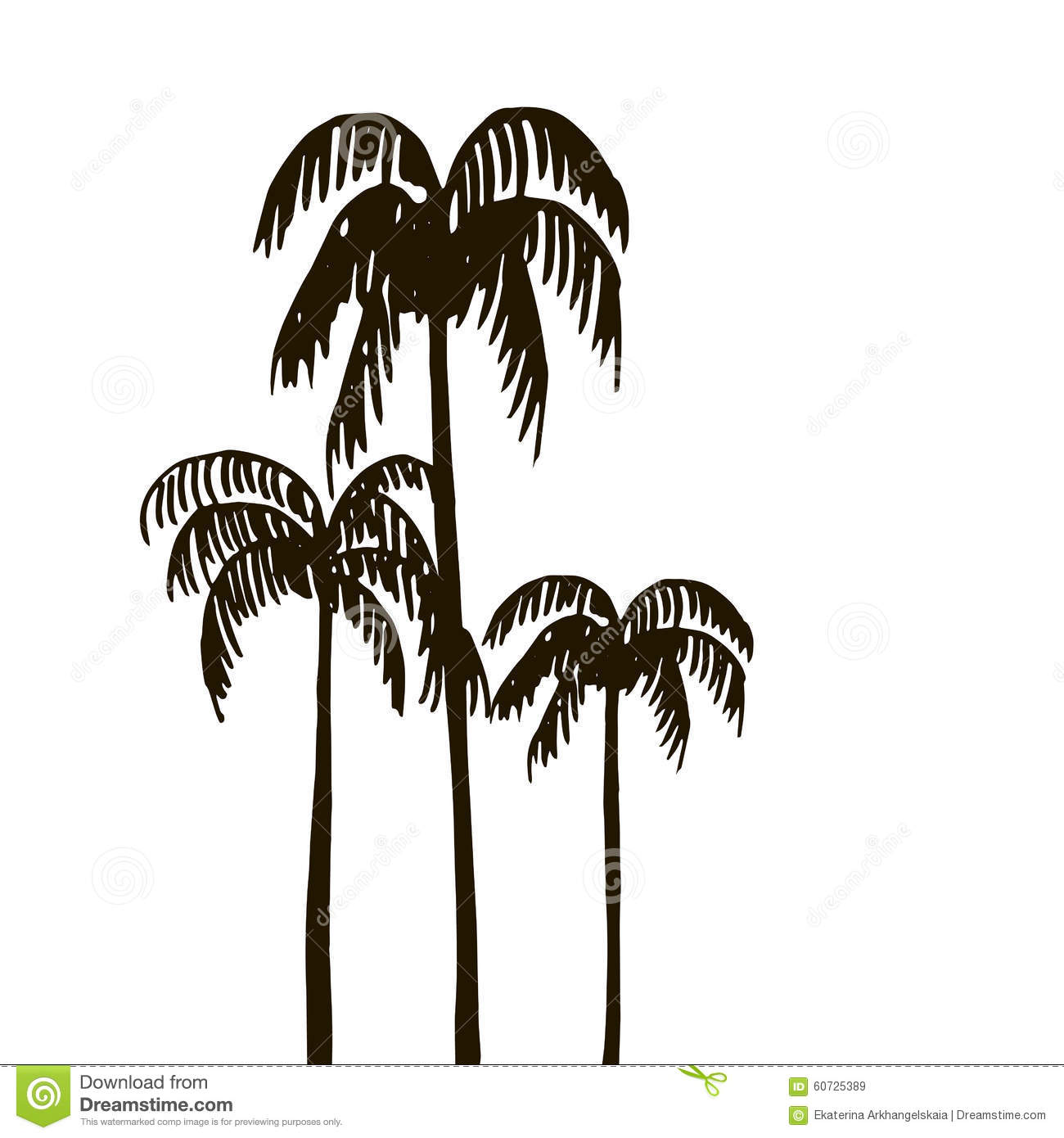 rain forest  palm tree silhouettes stock vector