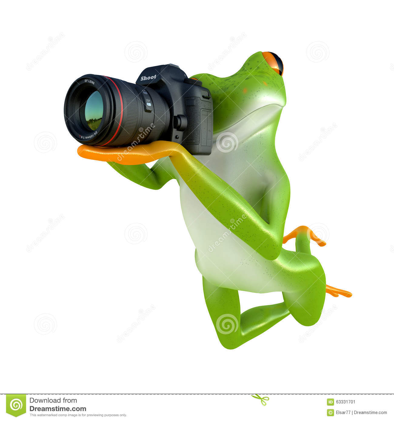 Tropical frog posing with a camera isolated on white background