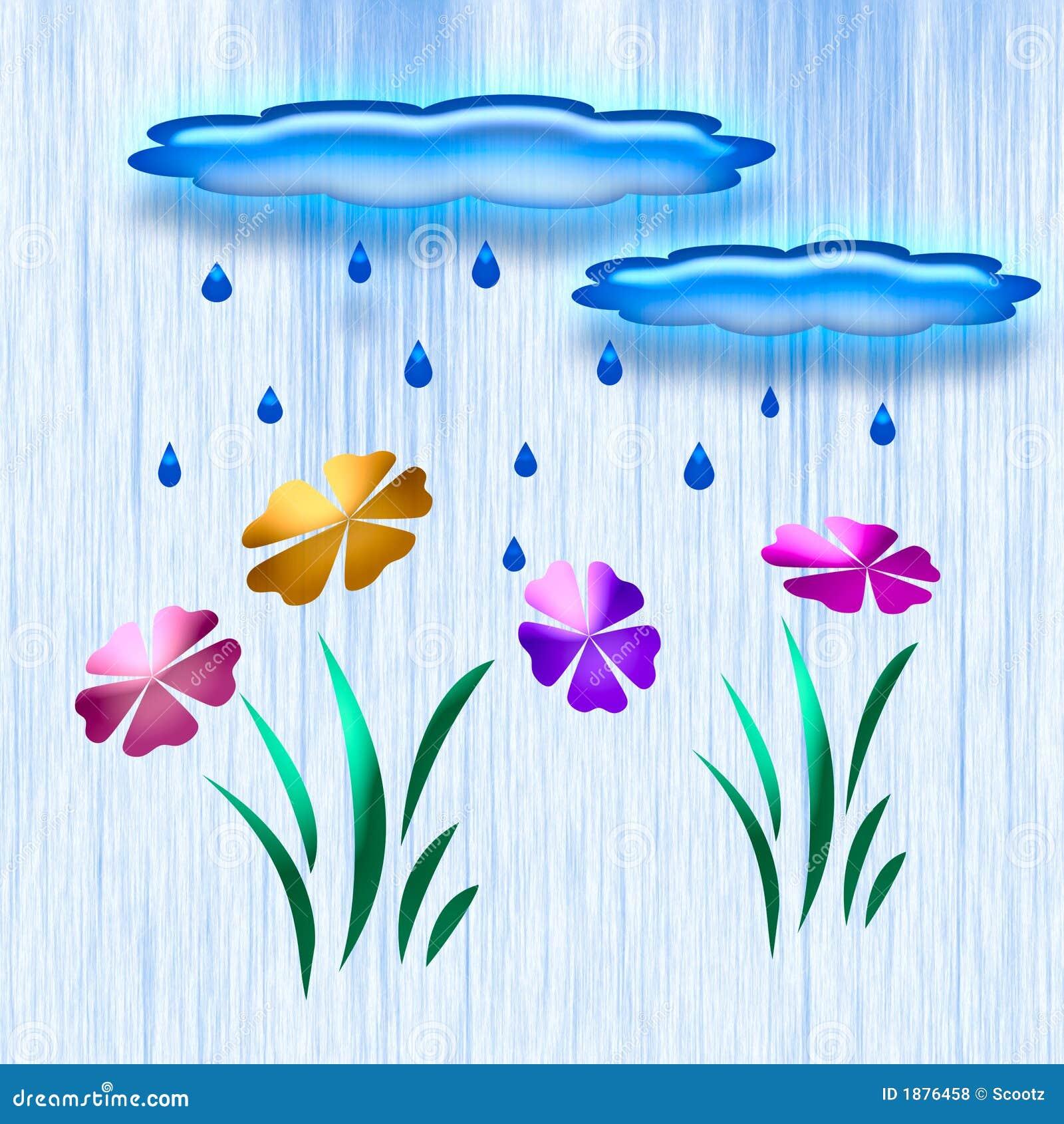 Rain in the garden art stock illustration. Image of flower ...