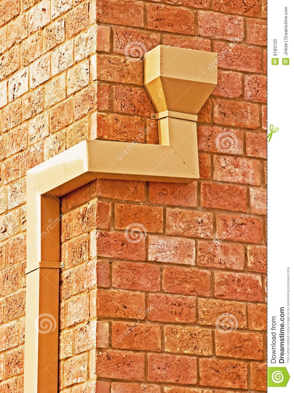 Rain Gutter On A Brick Wall Stock Photo Image Of Texture