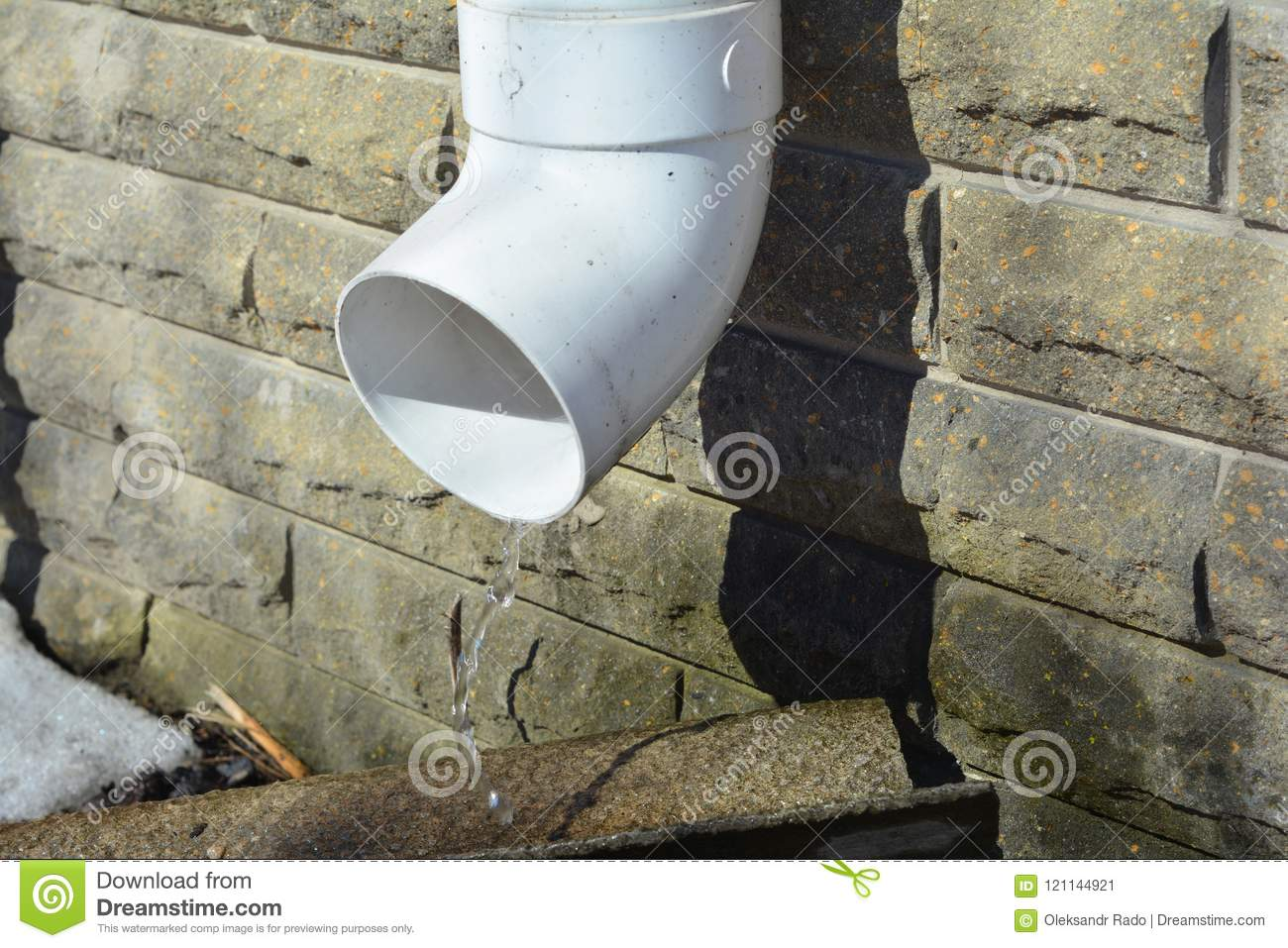 Rain Gutter Downspout Pipe For Roof Water Drainage And Waterproofing House Foundation Wall Stock Image Image Of Brick Drainage 121144921