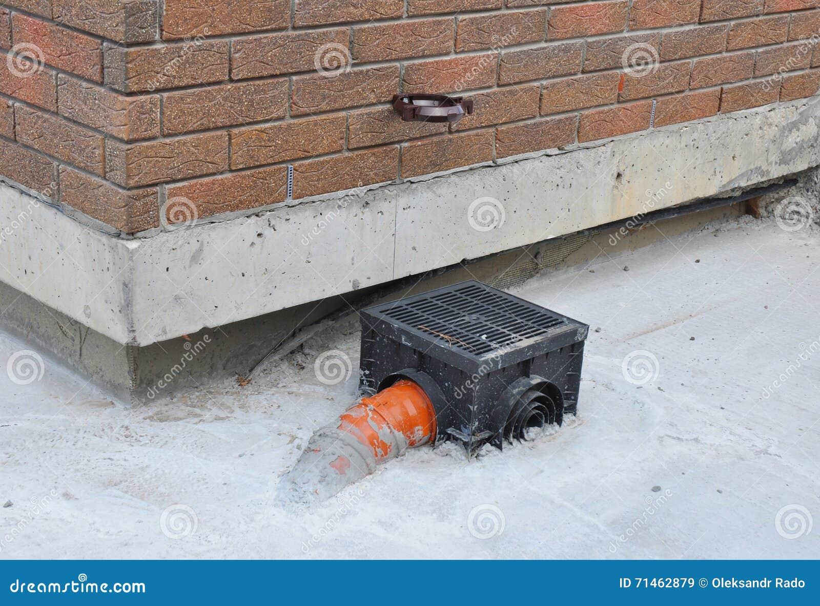 Rain gutter with new installed underground drainage system for Gutter drainage system