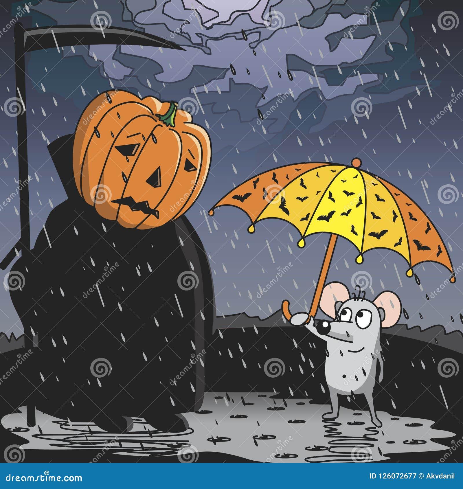 The rain on Halloween.