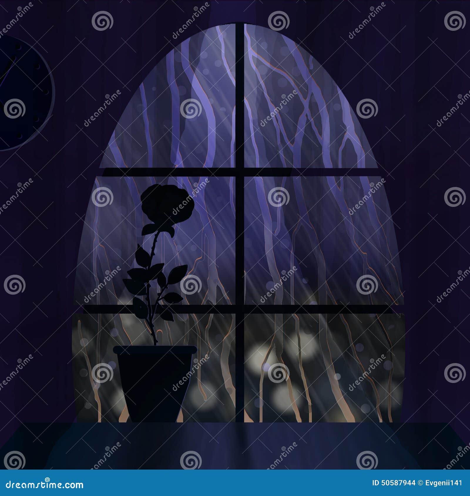 Rain Outside The Window Stock Illustration Image 50587944