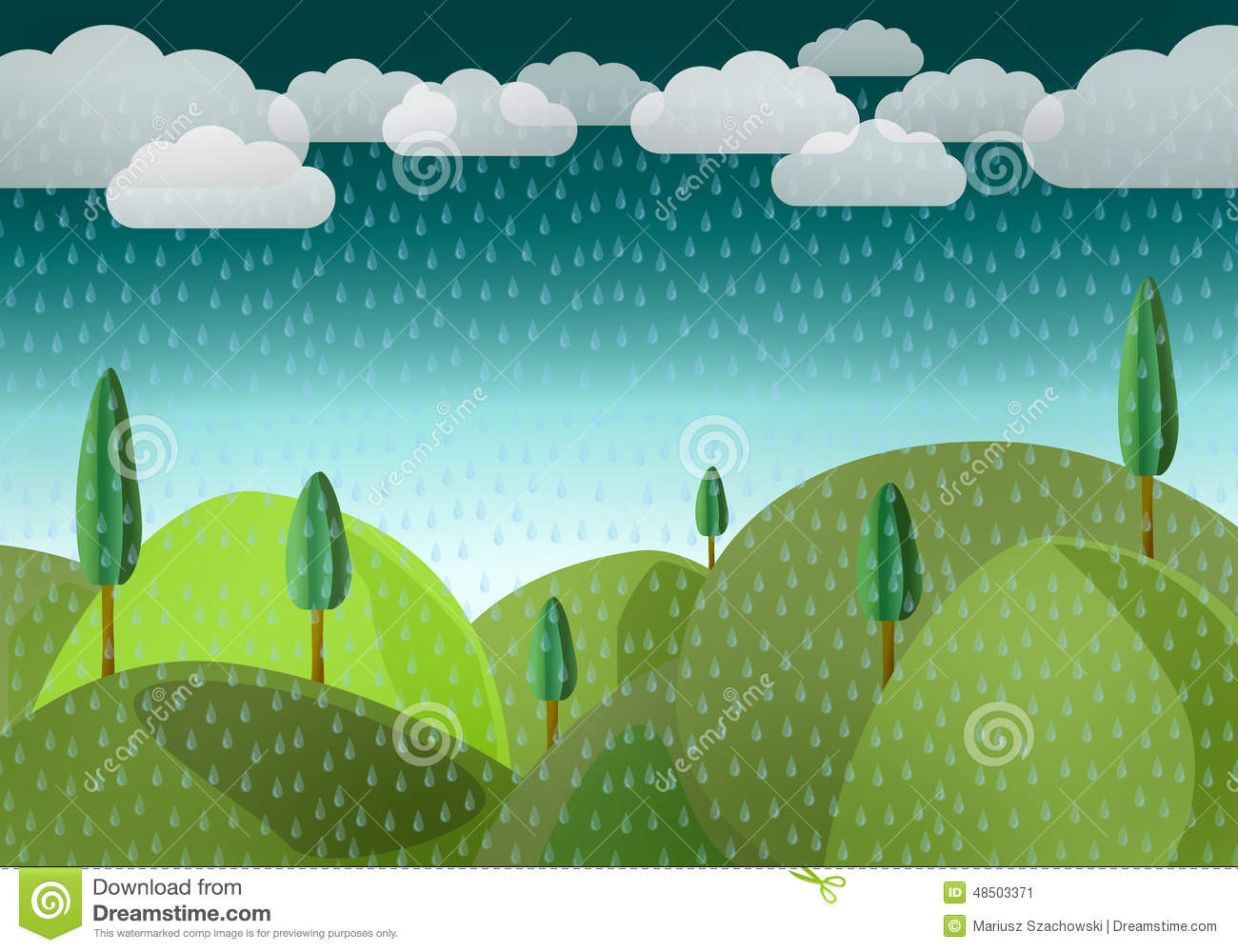 Rain over by mountains