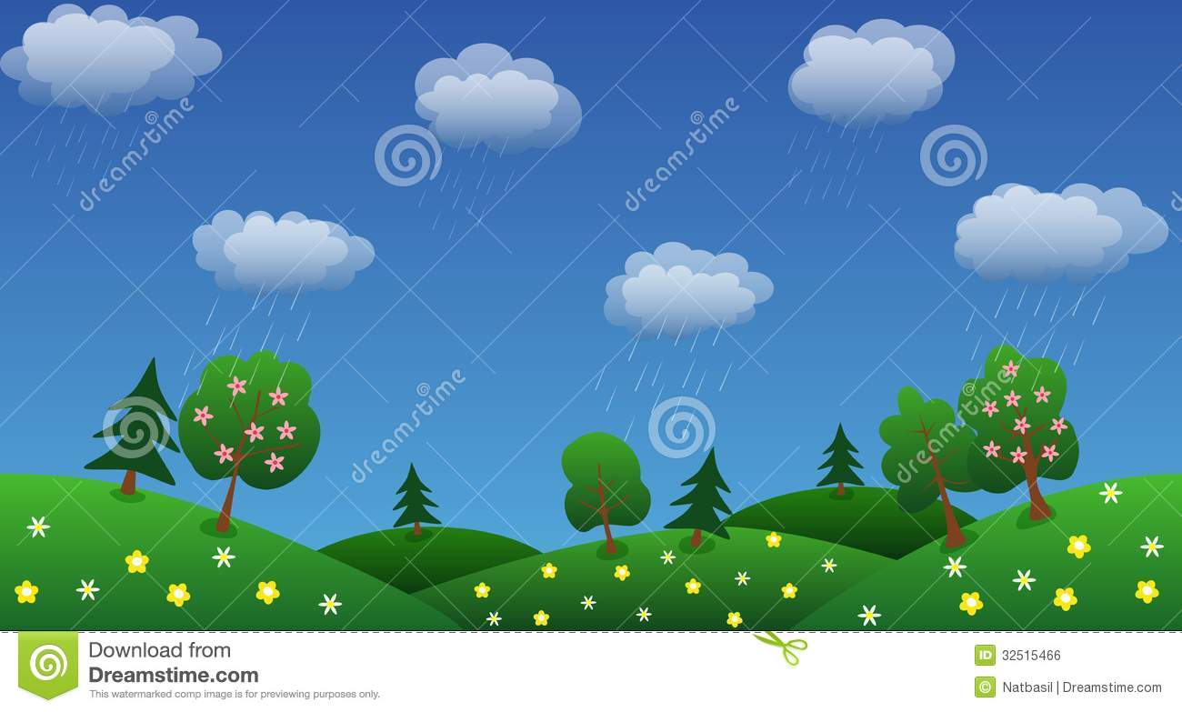 Rain Sky Background With Green Grass And Flowers Stock ...