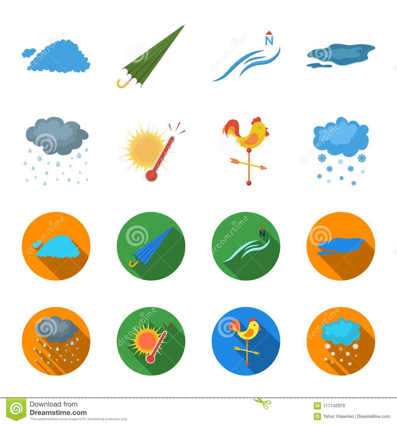 Rain Snow Heat Weathervane The Weather Set Collection Icons In