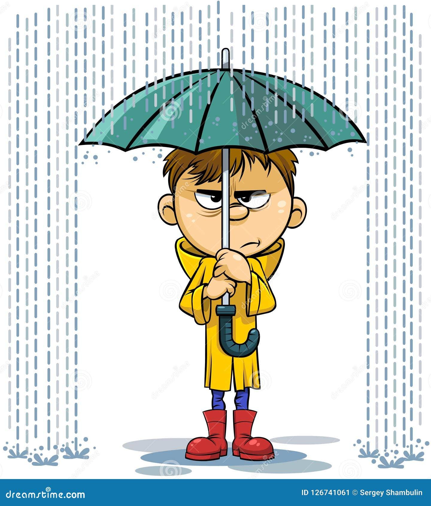 Rain And Umbrella Cartoon Illustration Stock Vector ...