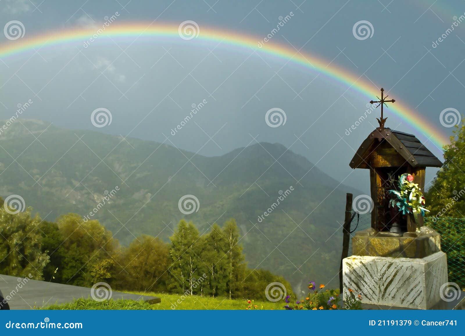 Rainbow in the Italian mountains