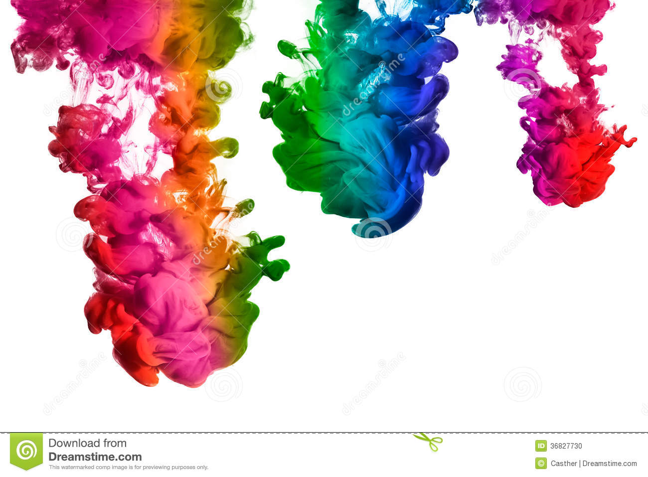Rainbow Of Acrylic Ink In Water. Color Explosion Stock