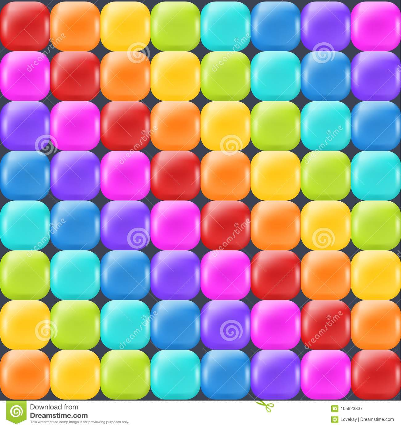 Rainbow backdrop with realistic glossy squares. Fun abstract backdrop for decor and selebration.