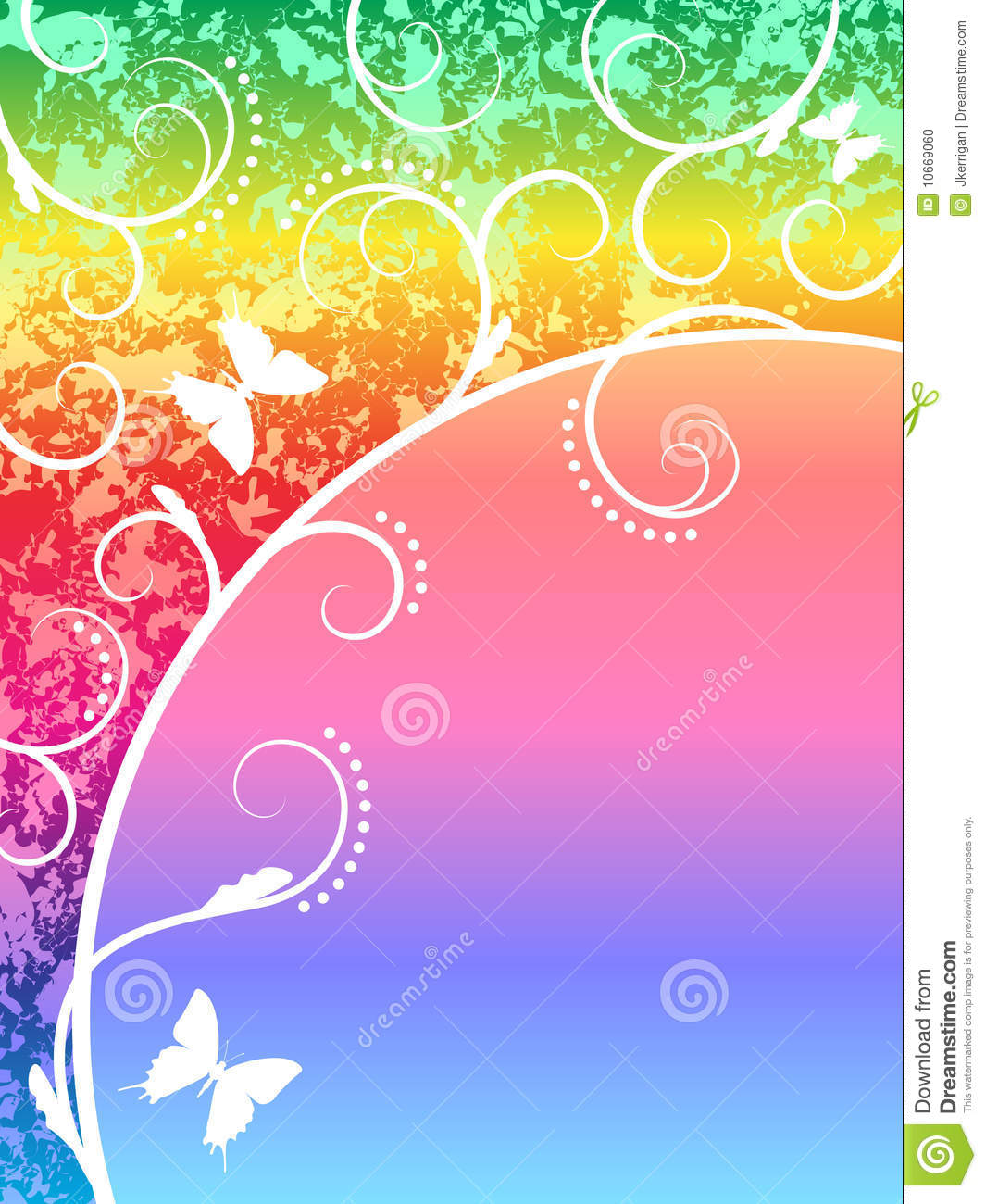 Illustation of rainbow background with butterflies.