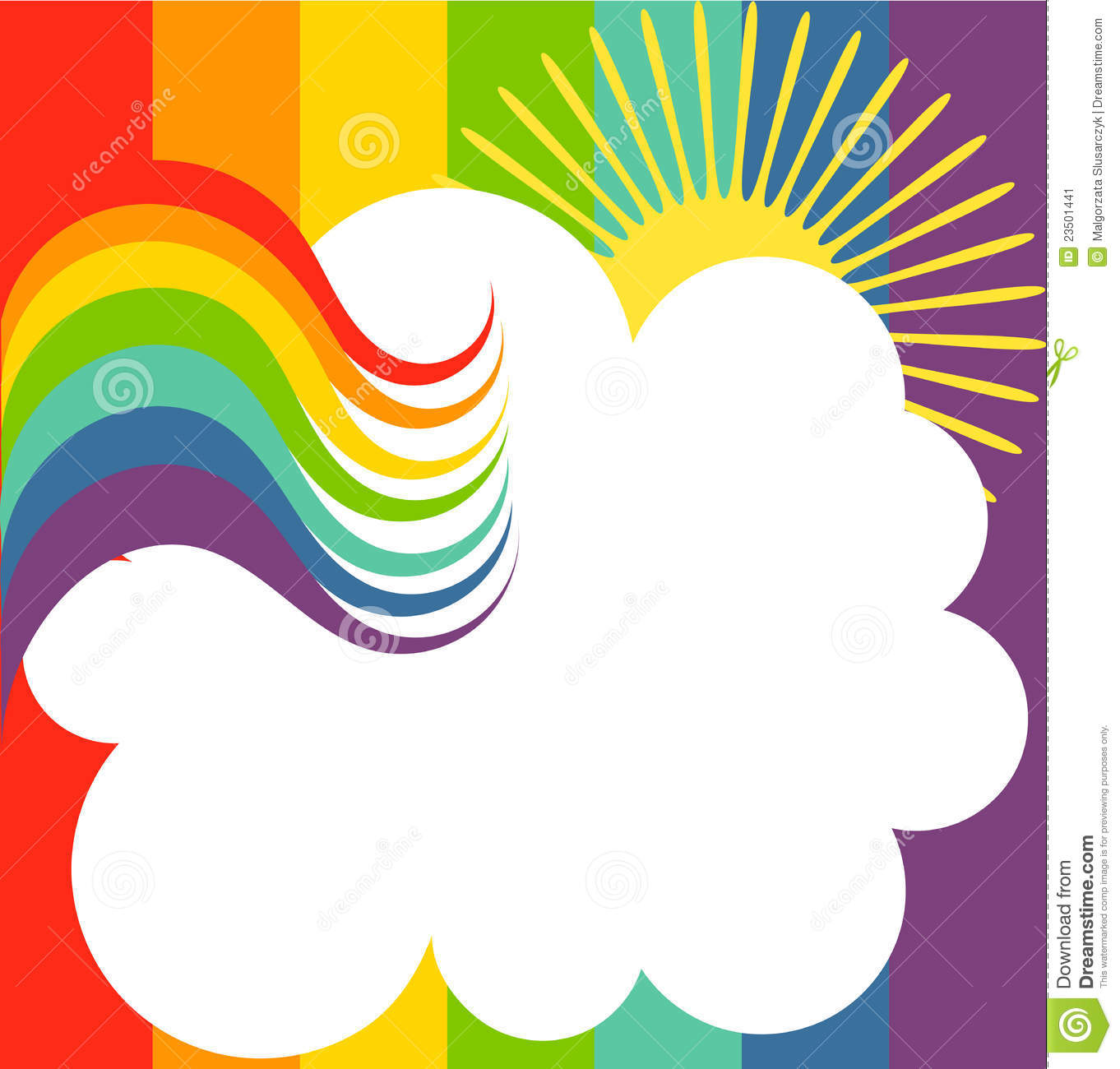 Rainbow background with cloud. vector illustration.