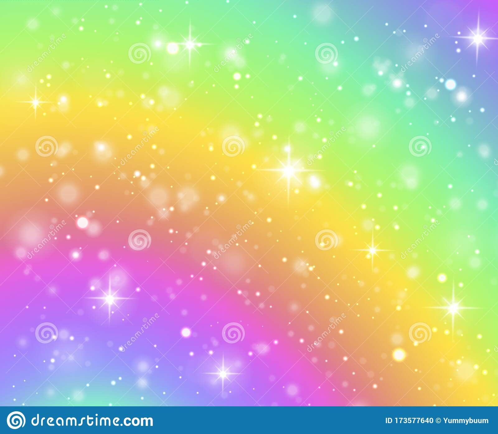 Rainbow Background Fantasy Unicorn Galaxy Fairy Stars In Pastel Sky And Bokeh Iridescent Hologram Texture With Stock Vector Illustration Of Bright Gradient 173577640