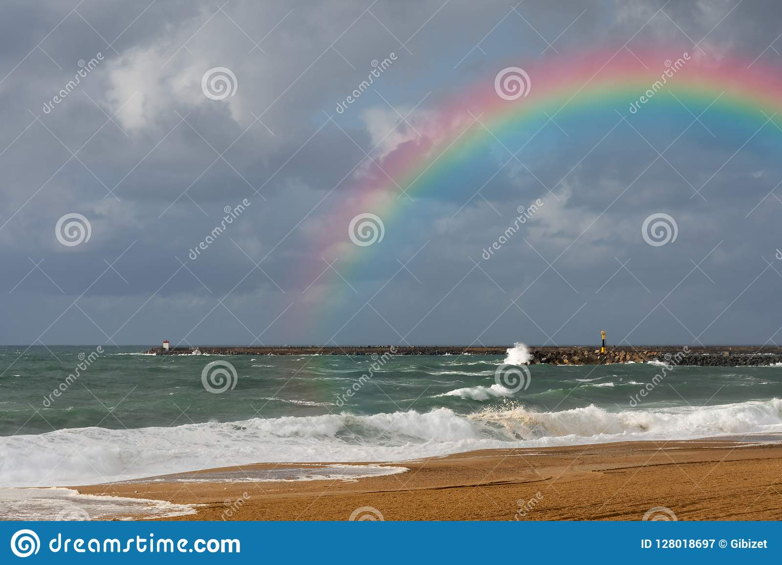 Rainbow on the beach of Anglet after the storm