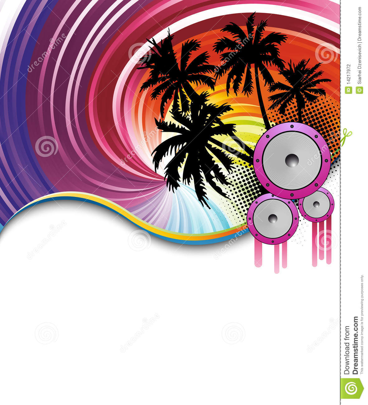 rainbow beach party poster stock vector  image of flyer