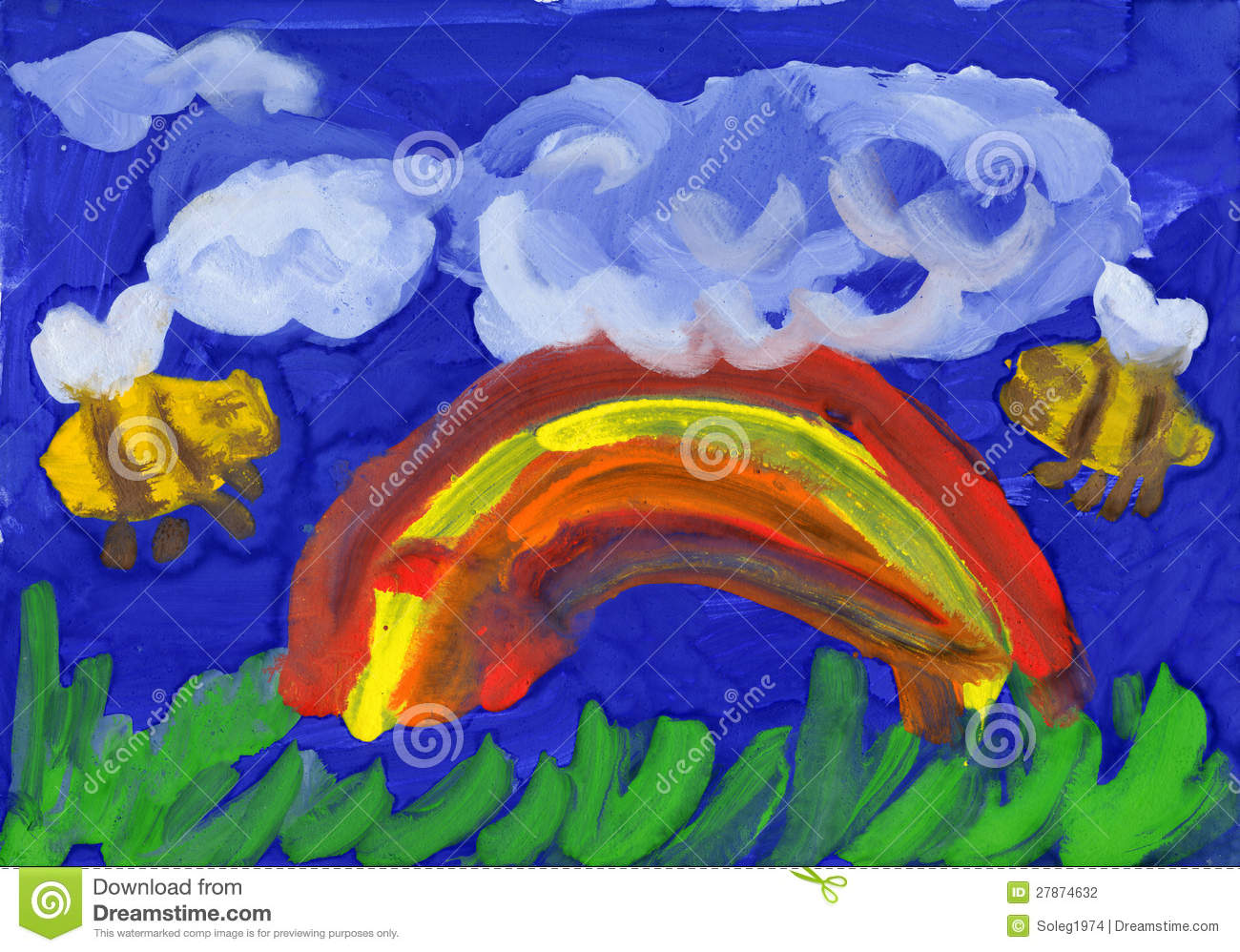 Rainbow and bees. childrens drawing