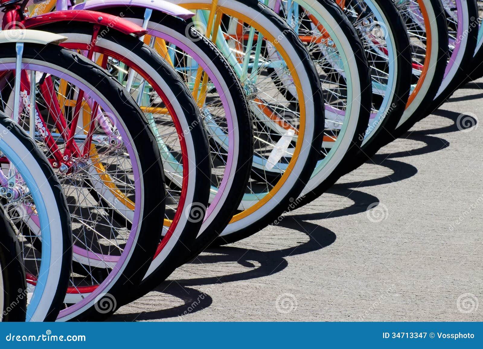 Rainbow of bike wheels stock image image of spoke for Making bicycle wheels