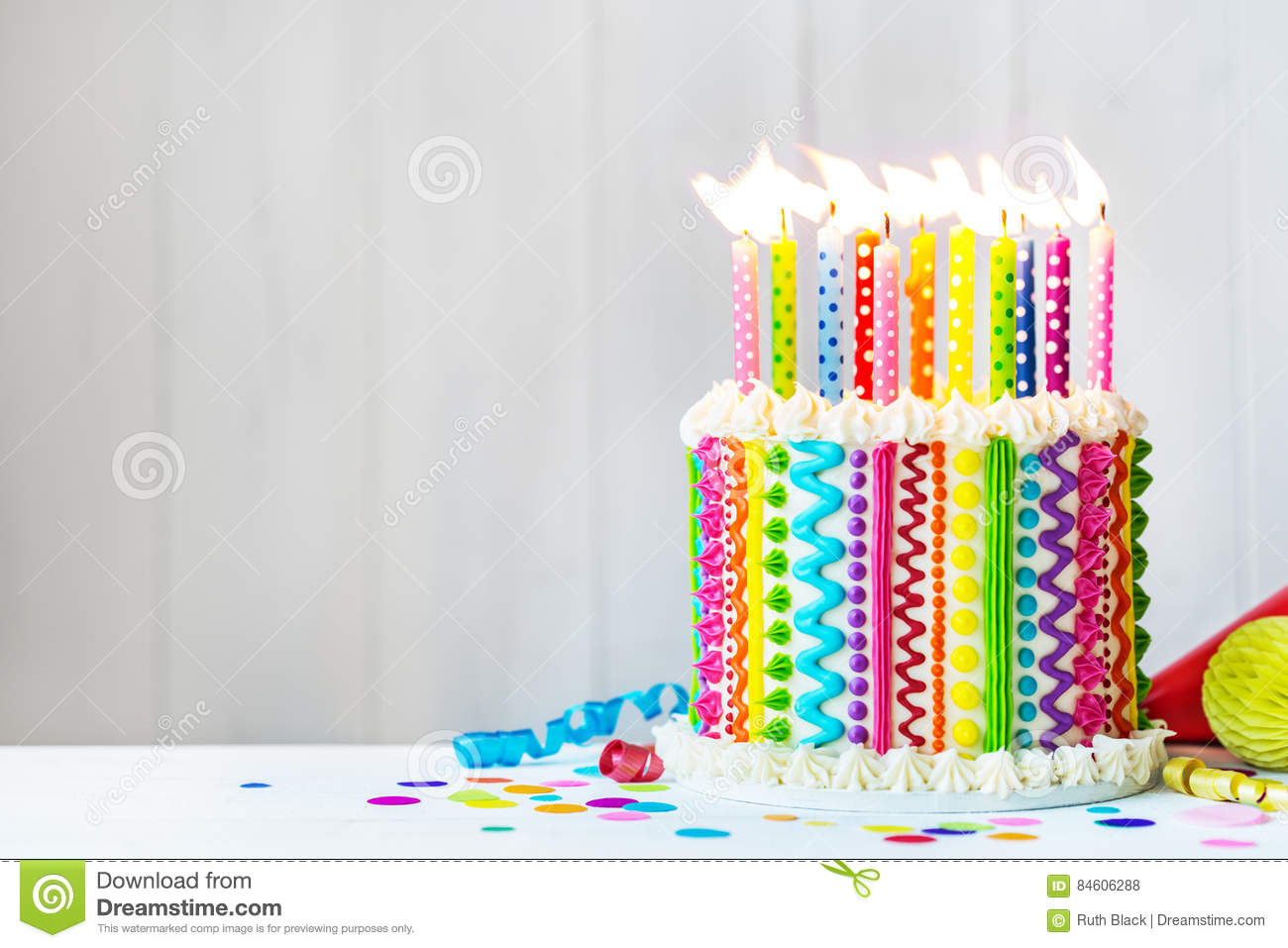 Swell Rainbow Birthday Cake Stock Photo Image Of Food Frosted 84606288 Funny Birthday Cards Online Elaedamsfinfo