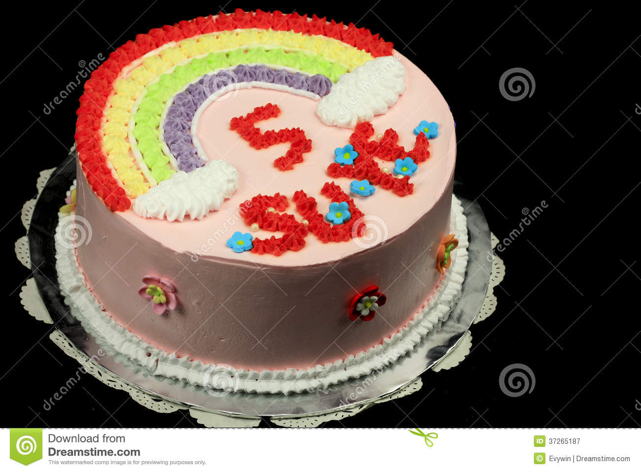 Birthday Cake Design Cream : Rainbow birthday cake stock image. Image of pattern ...