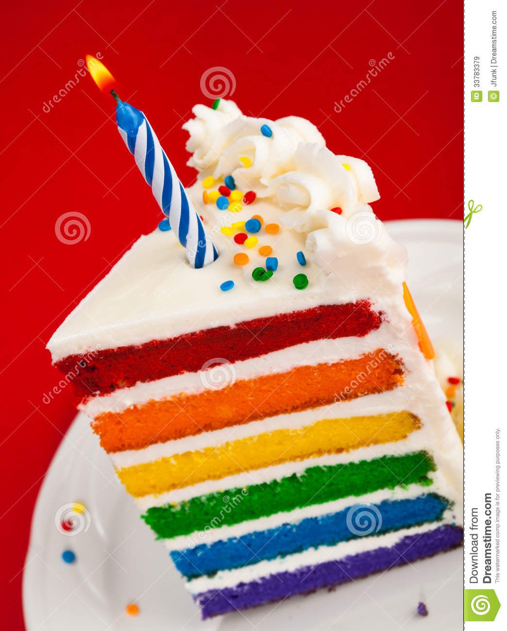 Rainbow Birthday Cake Slice Stock Image Image Of Slice Rainbow