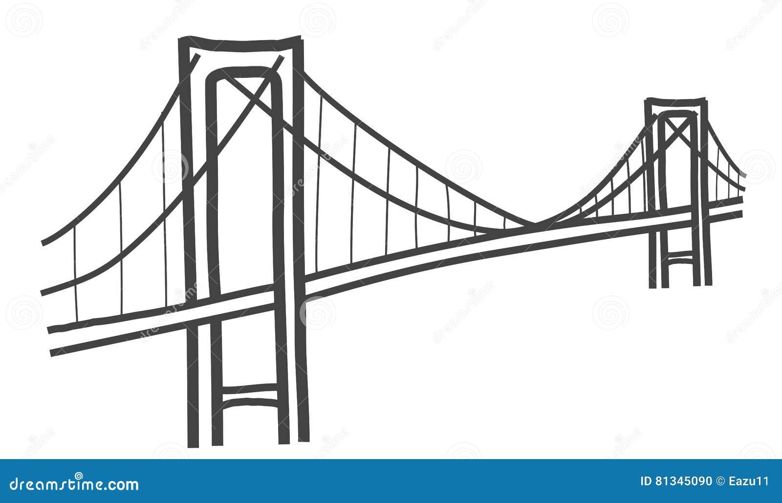 cable bridge drawing royalty