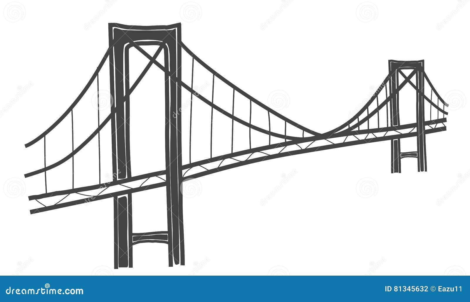 rainbow bridge tokyo drawing stock illustration