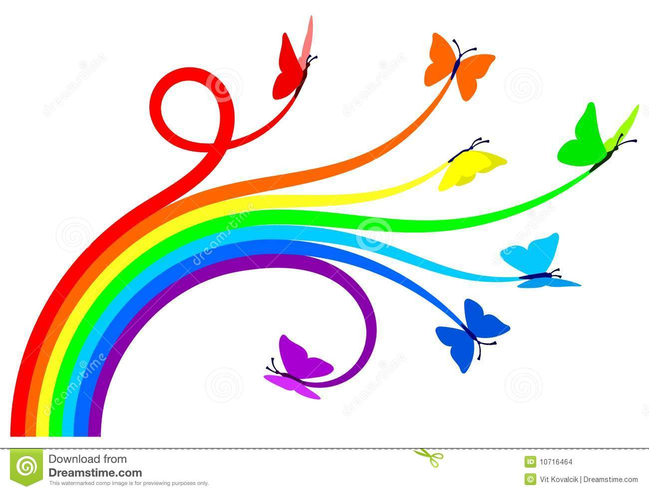 Seven butterflies creating a rainbow. Vector illustration, everything ...