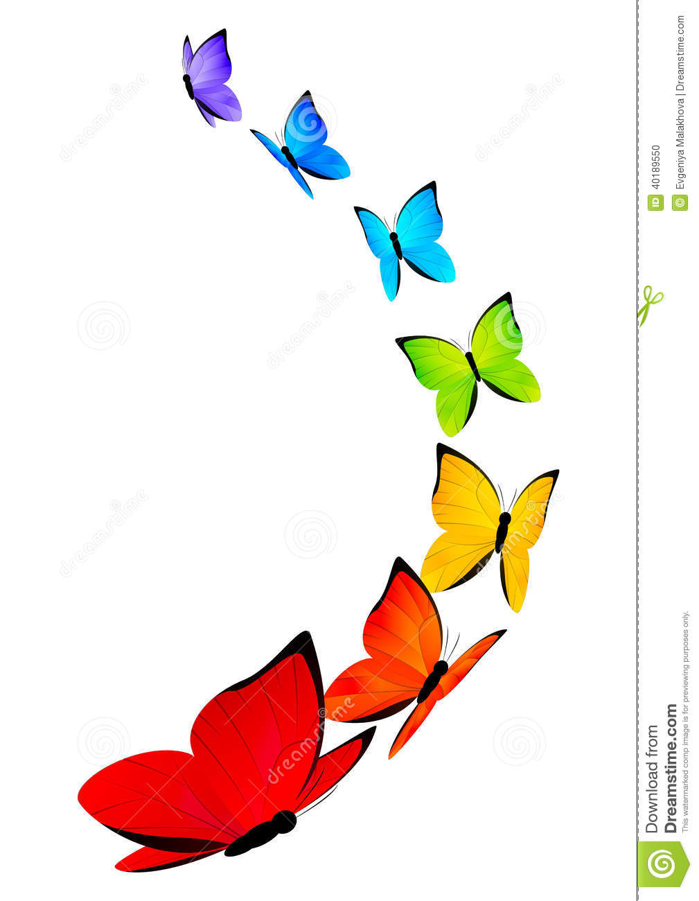 Rainbow Butterflies Background Stock Vector - Image: 40189550