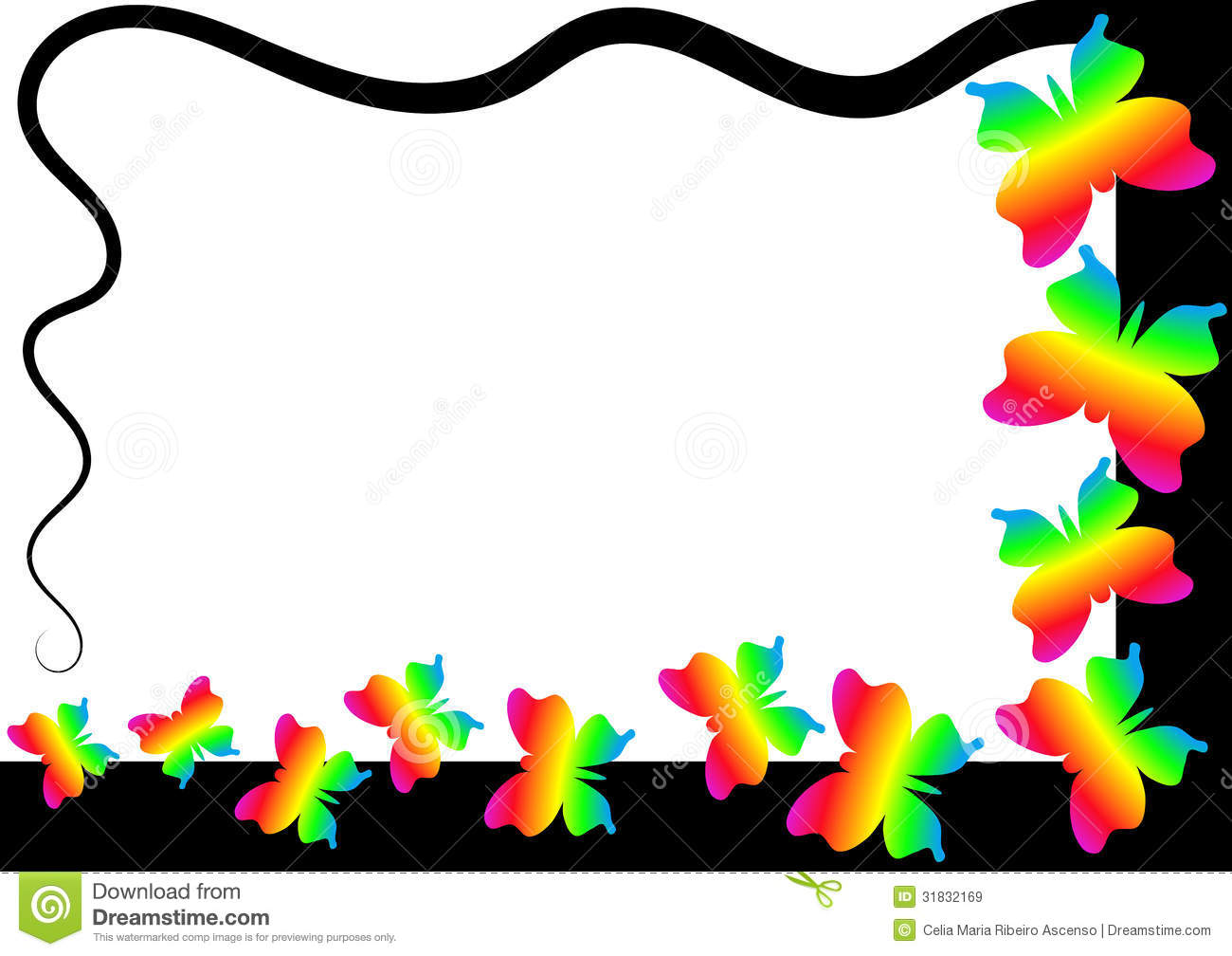 Rainbow Butterflies Border Frame Stock Illustration