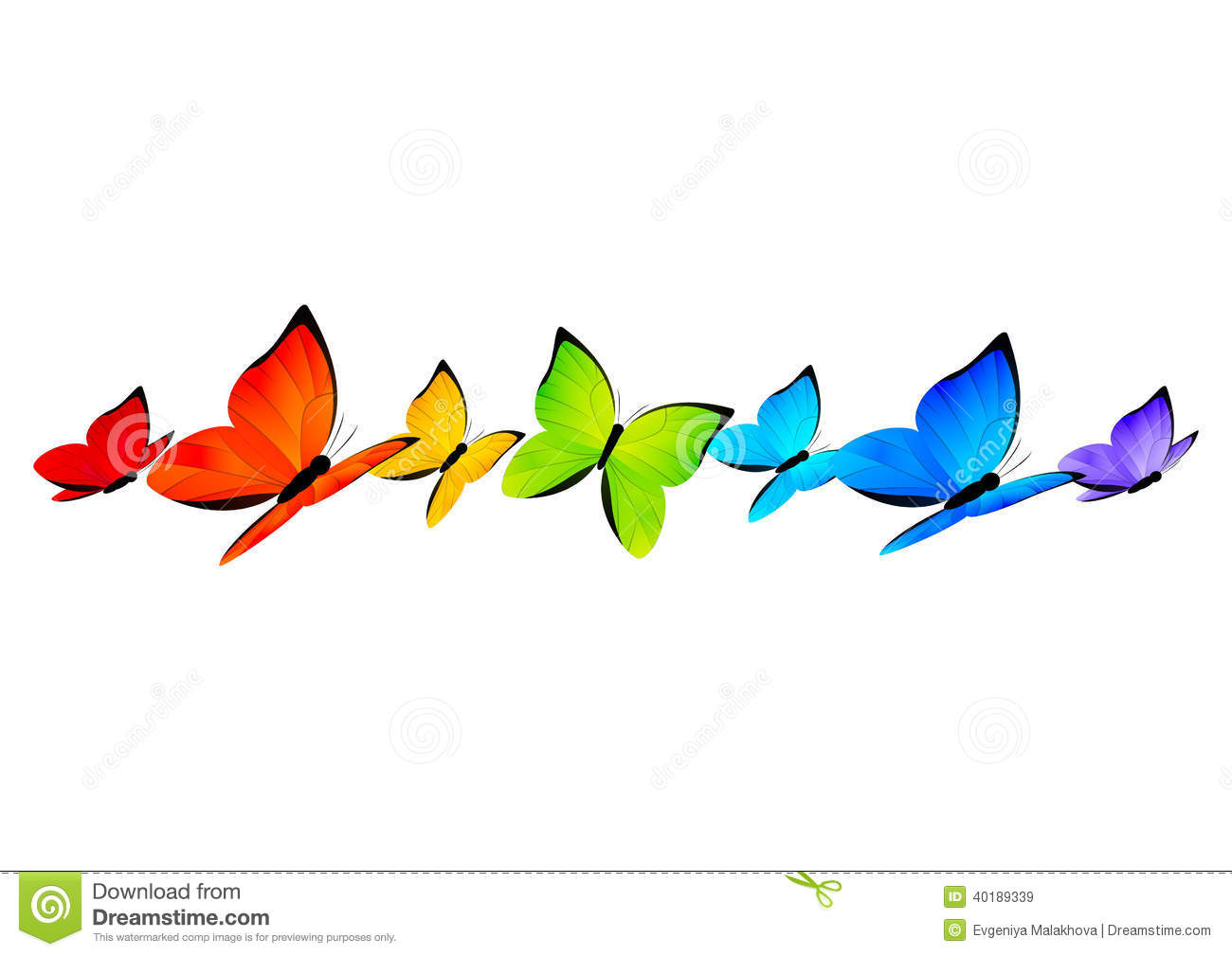 Rainbow Butterflies Border For Your Design 4 Stock Vector - Image ...
