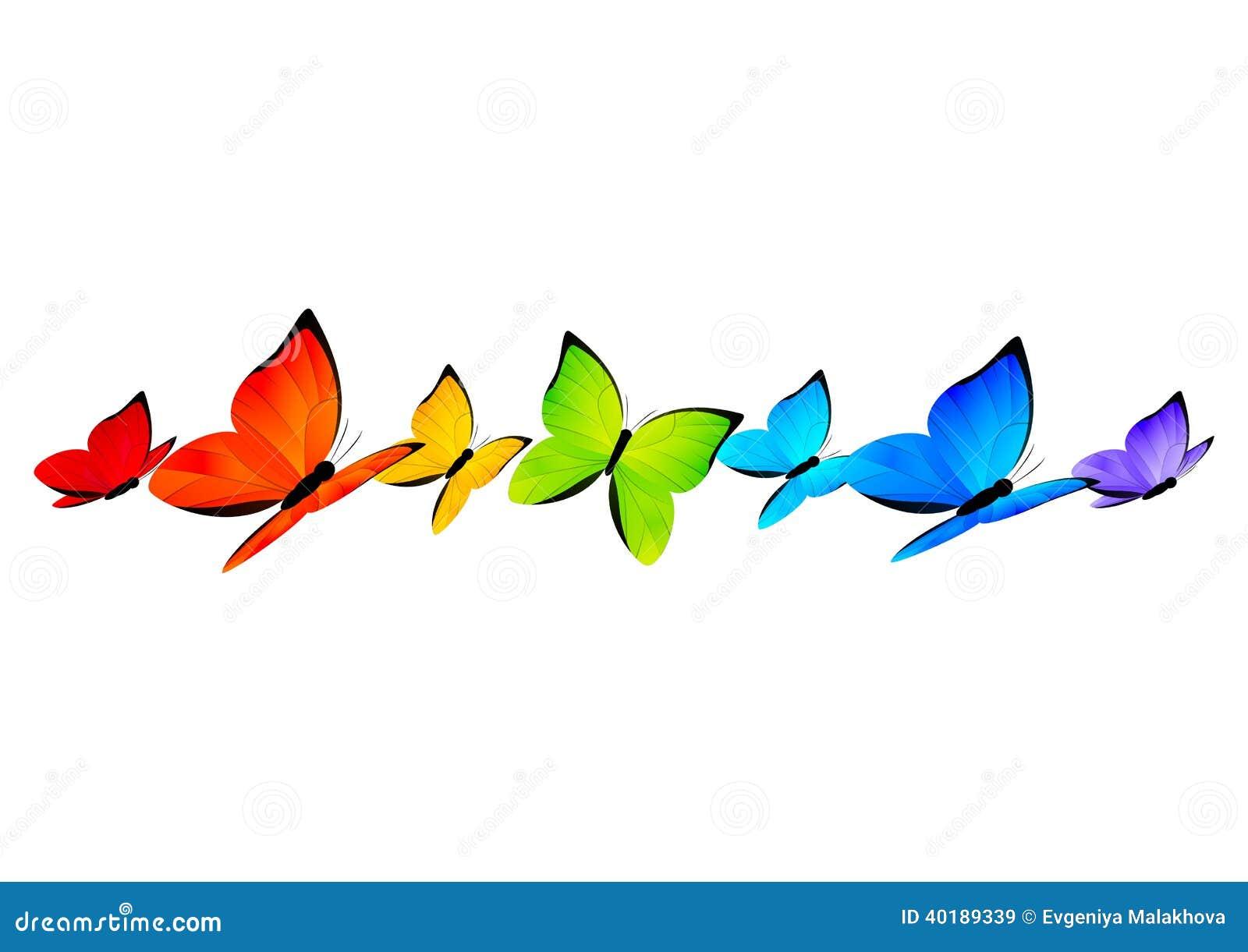 Rainbow Butterflies Border For Your Design 4 Stock Vector