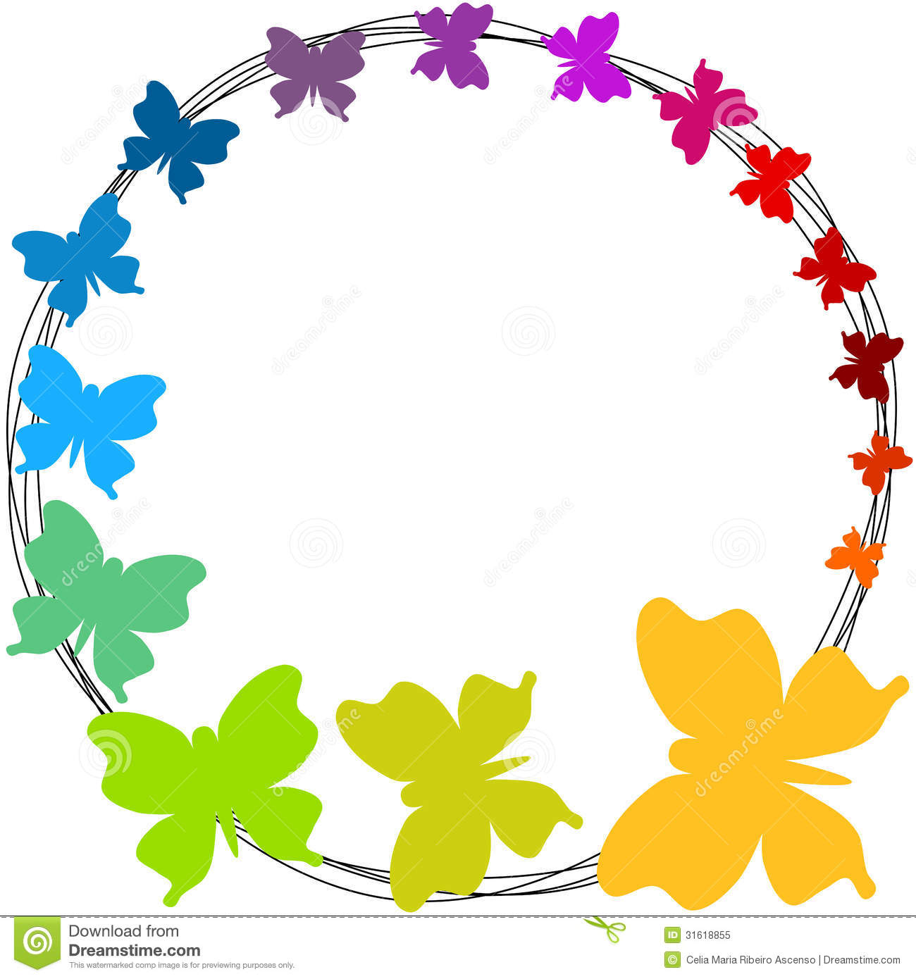 Border frame with flying colorful butterflies. Colors can be changed ...
