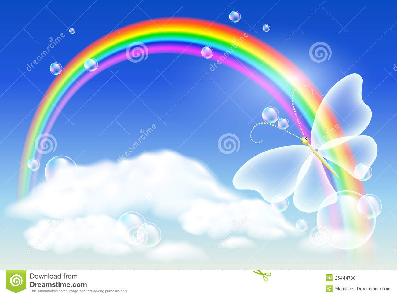 Rainbow And Butterfly Stock Photo Image 25444780