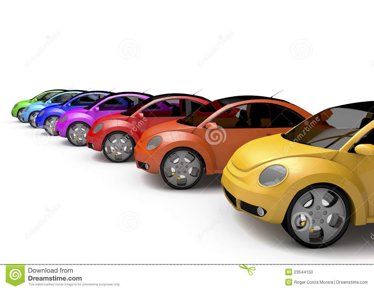 Line of cars of many colors on a white background, designed in 3d.