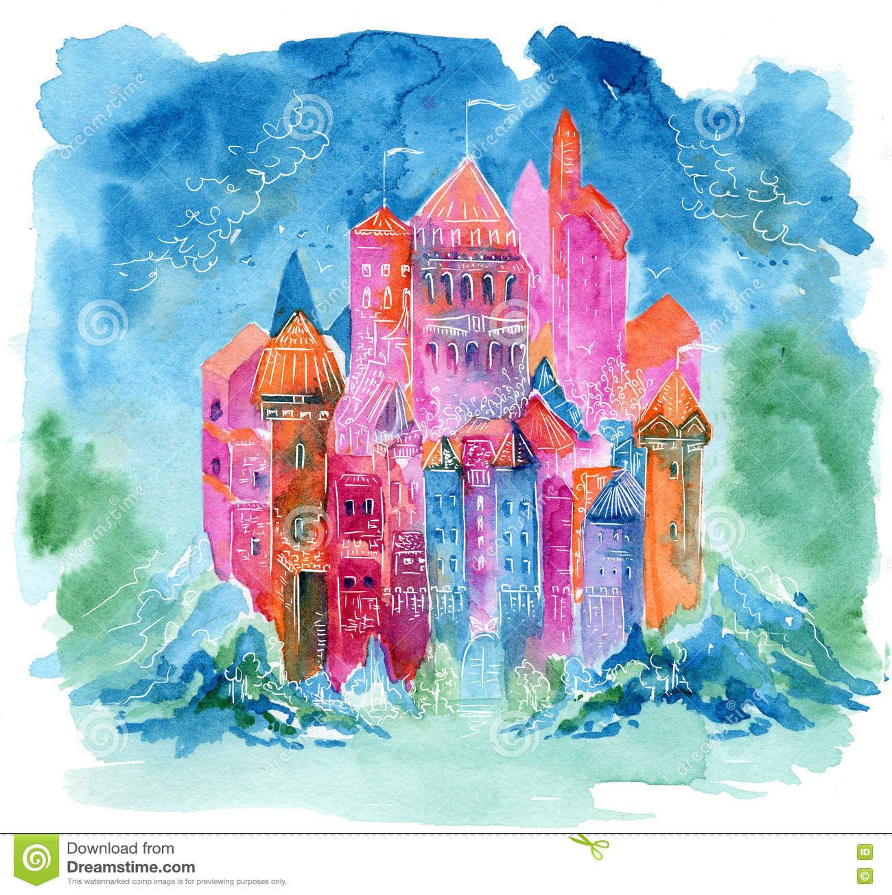 Book Cover Watercolor Paintings : Rainbow castle fantasy watercolor illustration stock
