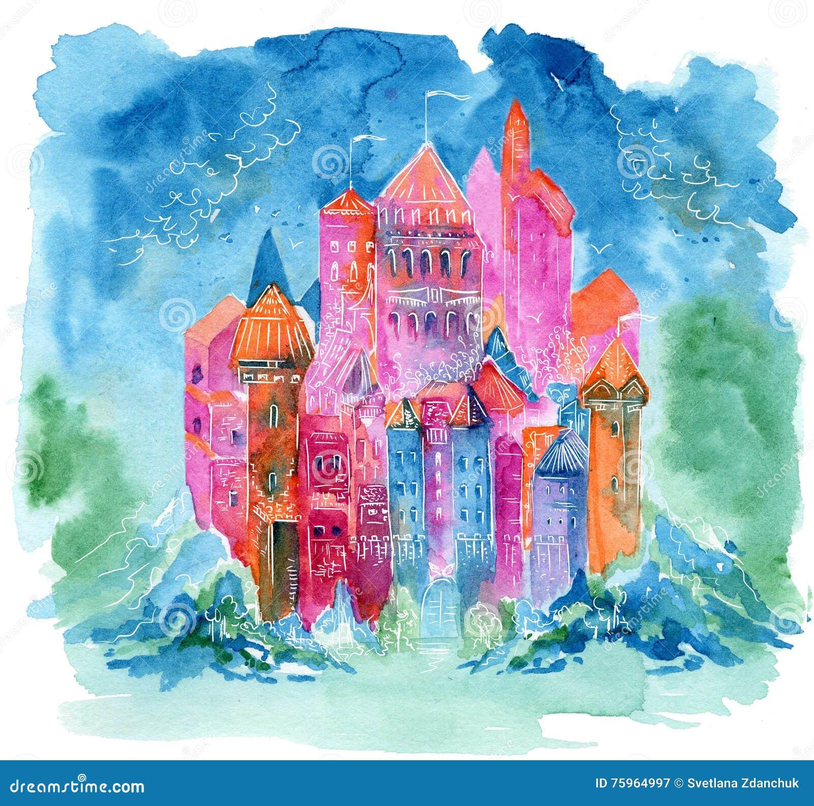 Book Cover Watercolor Hair : Rainbow castle fantasy watercolor illustration stock