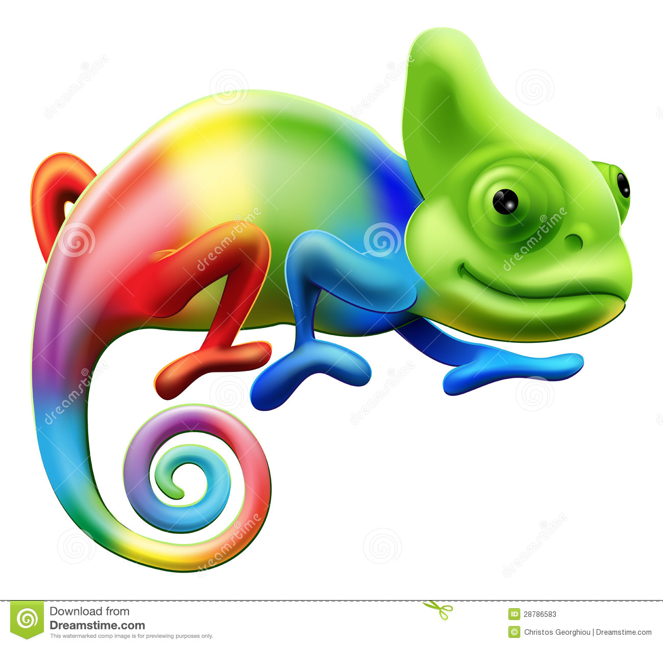 An illustration of a cartoon rainbow coloured chameleon.