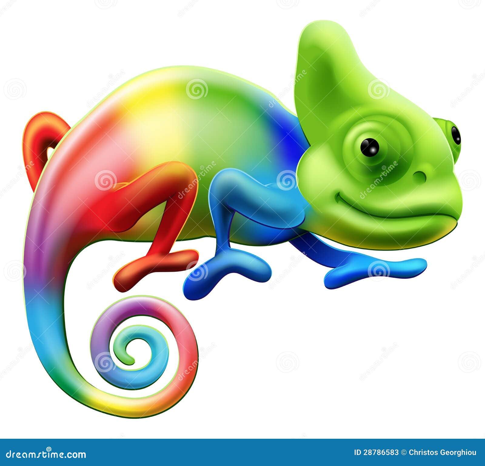 An illustration of a cartoon rainbow coloured chameleon.