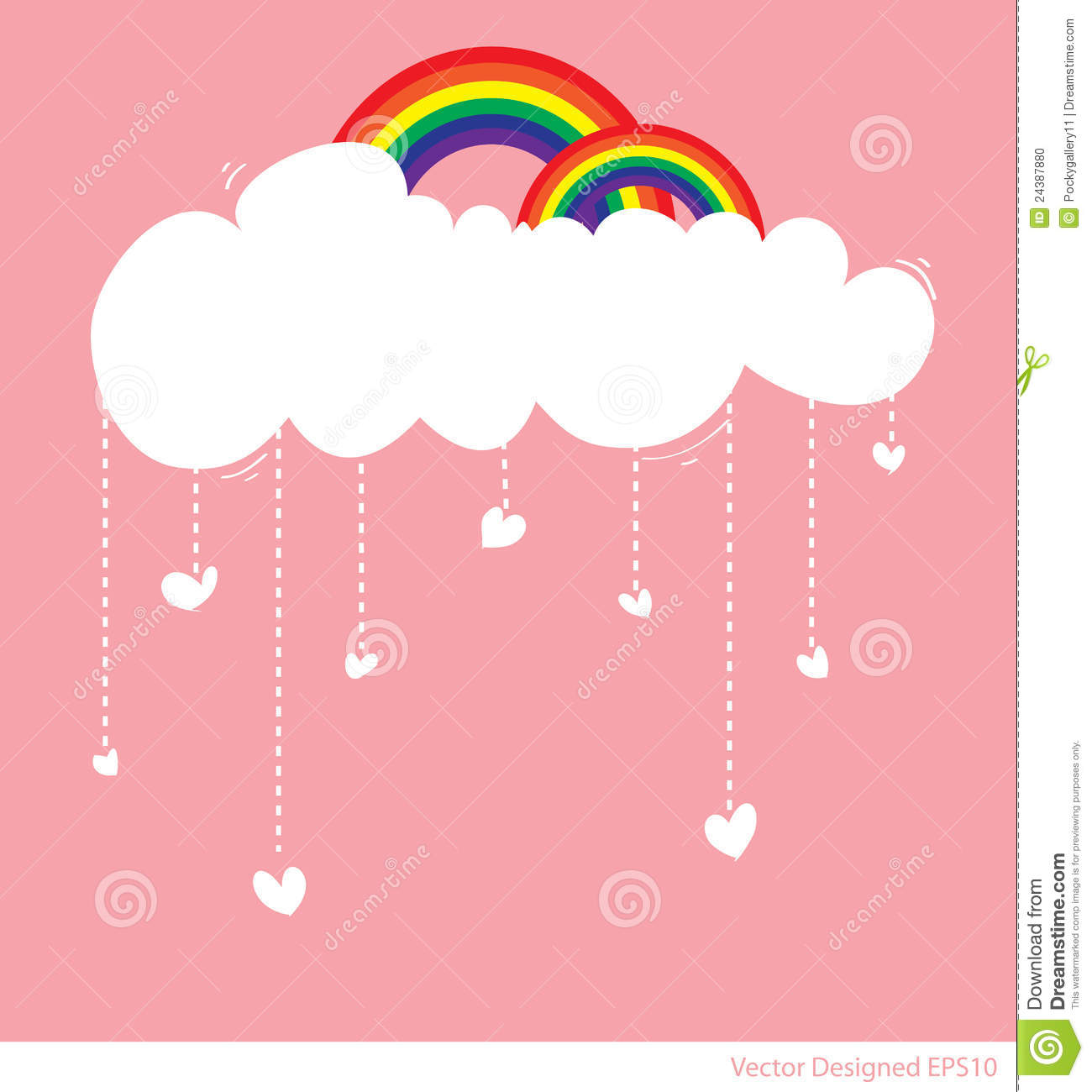 Rainbow With Cloud And Rain Of Love Hearts Stock Photo