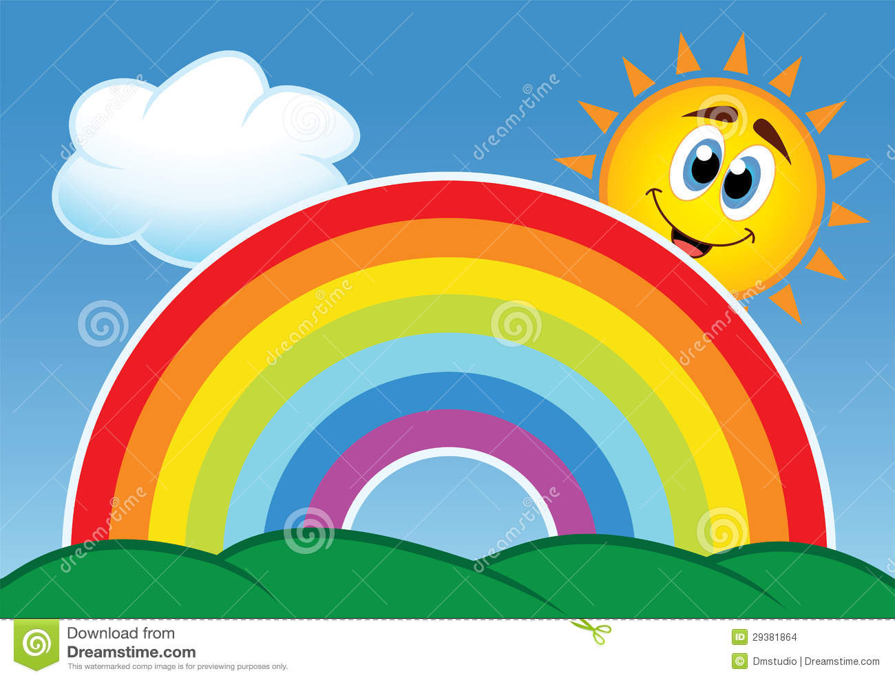 Vector illustration of rainbow, cloud and happy sun in the sky.