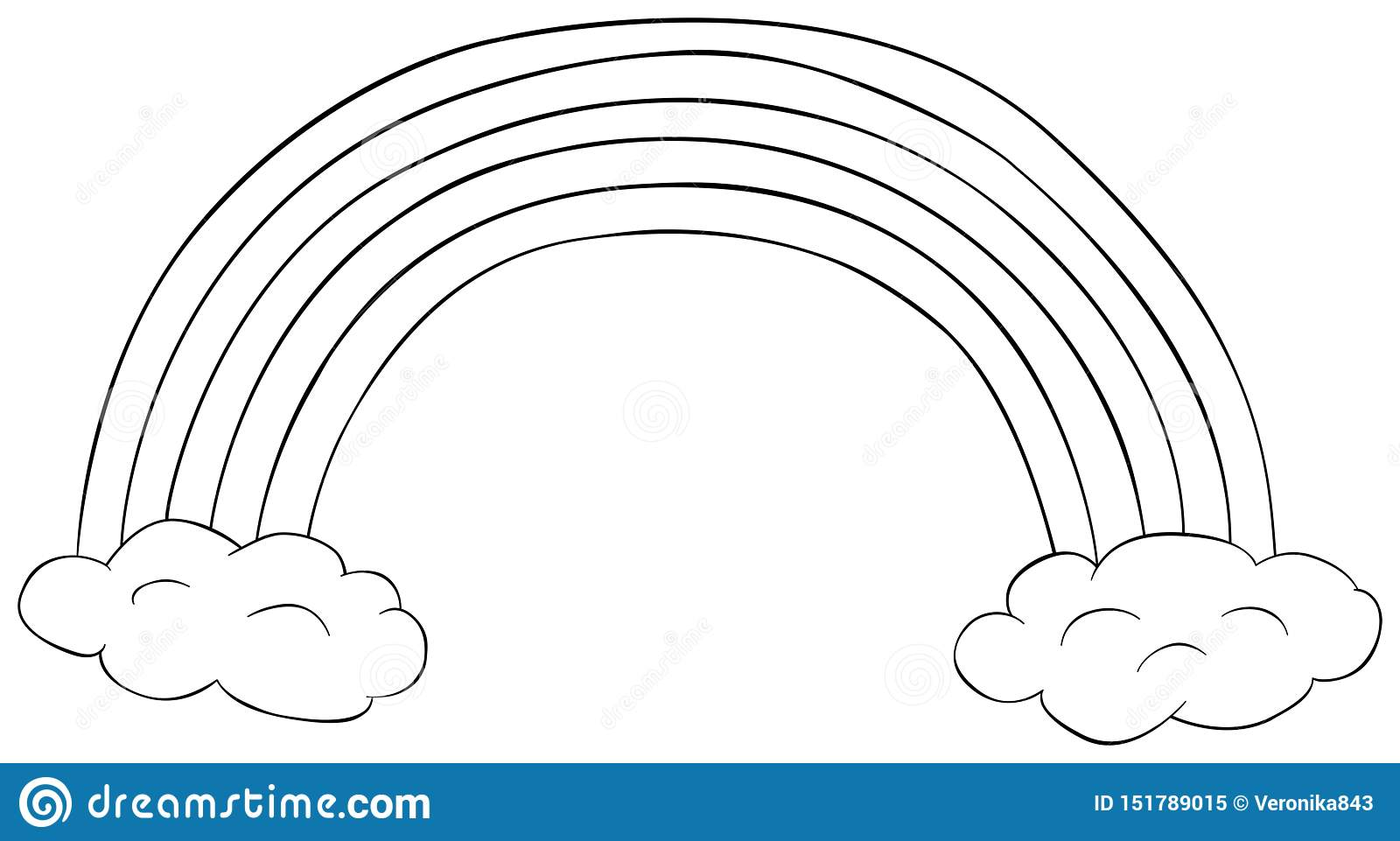 - Rainbow With Clouds Clipart. Coloring Book For Children. Doodle
